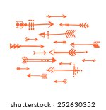 hand drawn arrows in red.... | Shutterstock .eps vector #252630352