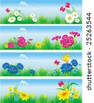 banners with flowers in meadow. | Shutterstock .eps vector #25263544