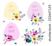 cute collection of happy easter ... | Shutterstock .eps vector #252647155