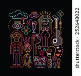 neon lights abstract art... | Shutterstock .eps vector #252648022