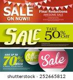 sale vector poster  3d paper... | Shutterstock .eps vector #252665812
