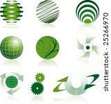 nine green corporate logos | Shutterstock .eps vector #25266970
