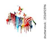 colorful vector zebra design | Shutterstock .eps vector #252692596
