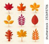 set of autumn leaves   vector... | Shutterstock .eps vector #252693706