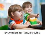 happy children boys looking at... | Shutterstock . vector #252694258