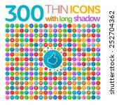 300 thin icons with long shadow | Shutterstock .eps vector #252704362