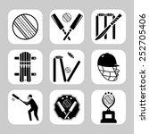 vector cricket related icon set | Shutterstock .eps vector #252705406