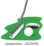 golf ball  hole and putter on... | Shutterstock .eps vector #25270705