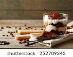 Tasty Tiramisu Dessert In Glas...