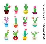 cute cactus collection vector... | Shutterstock .eps vector #252717916