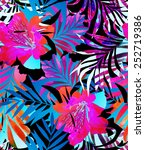 seamless tropical flower print... | Shutterstock . vector #252719386