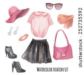 fashion wardrobe objects set.... | Shutterstock .eps vector #252735592