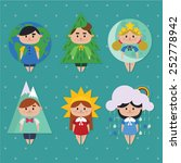 cute kids in funny nature... | Shutterstock .eps vector #252778942