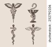 hand drawn caduceus. vector. | Shutterstock .eps vector #252792106