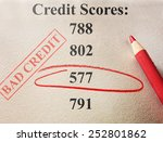 red circle and bad credit score ... | Shutterstock . vector #252801862