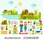 flat icons and panoramic rural... | Shutterstock .eps vector #252802858