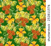 sun cap and marigold seamless... | Shutterstock . vector #252811576