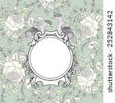 frame over flower background.... | Shutterstock .eps vector #252843142