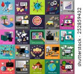 flat icons set for  web design  ... | Shutterstock .eps vector #252859432