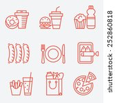 food icons  thin line style ... | Shutterstock .eps vector #252860818