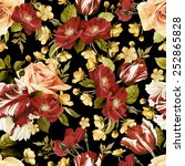 seamless floral pattern with ... | Shutterstock . vector #252865828