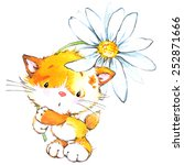 Stock photo funny kitten and flower decor for holiday greetings card and kids background watercolor 252871666