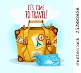 travel concept with suitcase... | Shutterstock .eps vector #252883636