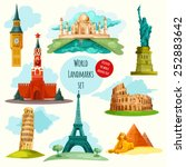 world landmarks decorative... | Shutterstock .eps vector #252883642