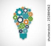 lightbulb made of colored cog... | Shutterstock .eps vector #252884062