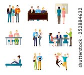 student life set with classroom ... | Shutterstock .eps vector #252884632