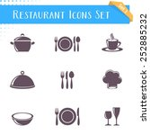 vector restaurant icons... | Shutterstock .eps vector #252885232