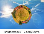 Abstract view of old farm surrounded by blue sky.  - stock photo