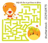 Stock vector funny labyrinth help the lion to get home in africa and get out of the maze illustration with 252910975