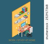 work and study at home... | Shutterstock .eps vector #252917368