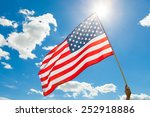 american flag waving in blue... | Shutterstock . vector #252918886
