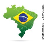 brazil map with flag | Shutterstock .eps vector #252920308