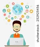 social network flat concept | Shutterstock .eps vector #252925456