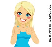 beautiful blonde woman happy... | Shutterstock .eps vector #252927022