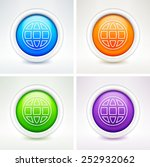 globe on on  color round buttons | Shutterstock .eps vector #252932062