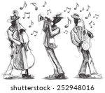 jazz band doodles hand drawn... | Shutterstock .eps vector #252948016