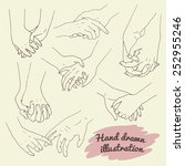 set of couples holding hands ... | Shutterstock .eps vector #252955246