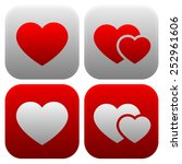 heart icon set. single heart ... | Shutterstock .eps vector #252961606