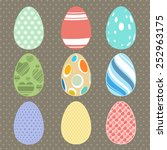 easter eggs set. vintage color | Shutterstock .eps vector #252963175