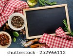 black chalk board and spices.... | Shutterstock . vector #252966112