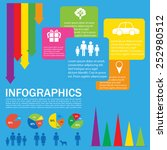 a colourful infochart on a blue ... | Shutterstock .eps vector #252980512
