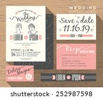 wedding invitation set design... | Shutterstock .eps vector #252987598