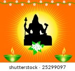 indian god shiva with lamps and ...   Shutterstock . vector #25299097