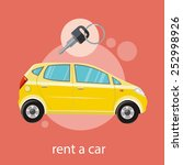 yellow car with a key. rent a...