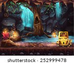 illustration fantasy cave with... | Shutterstock .eps vector #252999478