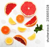 fresh citrus fruits with ice... | Shutterstock . vector #253005328